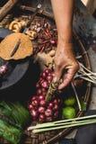 Les oeufs de citron d'exposition de main de nourriture de Lanna et les mains rustiques d'expert de cuisine de cuisine thaïlandais Photos stock