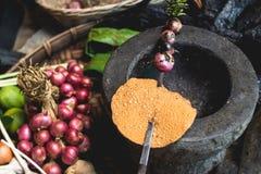Les oeufs de citron d'exposition de main de nourriture de Lanna et les mains rustiques d'expert de cuisine de cuisine thaïlandais Images libres de droits