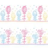 Les oeufs de pâques, fleurs et coeurs, rayent le modèle sans couture, ornement de griffonnage, illustration de vecteur Image stock