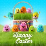 Les oeufs de pâques heureux, le joyeux 3D ensemble, série de ressort, bande dessinée heureuse objecte, bannière de Pâques, carte p illustration libre de droits