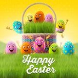 Les oeufs de pâques heureux, le joyeux 3D ensemble, série de ressort, bande dessinée heureuse objecte, bannière de Pâques, carte p Photo libre de droits