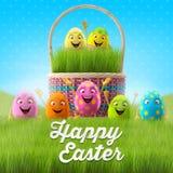 Les oeufs de pâques heureux, le joyeux 3D ensemble, série de ressort, bande dessinée heureuse objecte, bannière de Pâques, carte p Photographie stock
