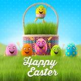 Les oeufs de pâques heureux, le joyeux 3D ensemble, série de ressort, bande dessinée heureuse objecte, bannière de Pâques, carte p Photos stock