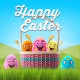 Les oeufs de pâques heureux, le joyeux 3D ensemble, série de ressort, bande dessinée heureuse objecte, bannière de Pâques, carte p Images libres de droits
