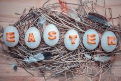 Les oeufs de pâques sur les oeufs de pâques de nid pendant des vacances de Pâques conçoivent Images stock