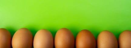 Les oeufs de poulet se situent dans une ligne sur un fond vert Le festin Photographie stock