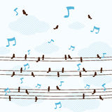 Les oiseaux beaucoup petits chantent une chanson sur la ligne vecteur photo stock