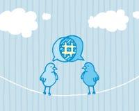 Les oiseaux partageant et gazouillant/media social dialoguent illustration de vecteur