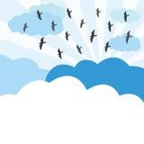 Les oiseaux volent sur le ciel illustration stock