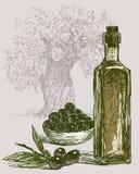 Les olives mûres et l'huile d'olive Photo stock