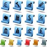 les opérations bancaires boutonnent le défilement Photos libres de droits