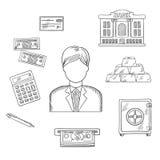 Les opérations bancaires, l'économie et les finances ont esquissé des icônes illustration libre de droits