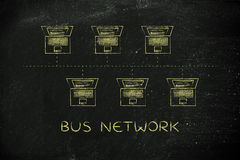 Les ordinateurs portables se sont reliés dans une structure de réseau type bus à la légende Photographie stock