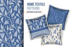 Les oreillers décoratifs ont placé avec le grand modèle de fleurs bleu illustration de vecteur