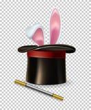 Les oreilles de lapin de vecteur apparaissent du chapeau et de la baguette magique magiques de magie d'isolement sur le fond tran Image libre de droits