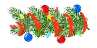 Les ornements de Noël décorés des branches des boules de sapin se tient le premier rôle illustration de vecteur