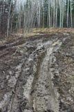 Les ornières de boue dans une chasse campent Photo libre de droits
