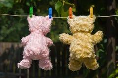Les ours de nounours en arrière visualisent Photos stock