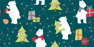 Les ours se préparent à Noël, préparant des cadeaux, décorent l'arbre de Noël illustration libre de droits