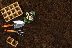 Les outils de jardinage sur le sol de jardin donnent à la vue une consistance rugueuse supérieure de fond Images stock