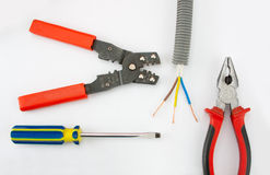 Les outils de l'électricien Photos stock