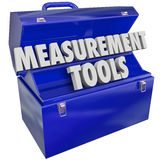 Les outils de mesure mesurent la boîte à outils de mots du niveau des performances 3d Photos stock