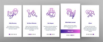 Les outils et les excavations archéologiques dirigent l'écran mobile de page d'appli d'Onboarding illustration stock