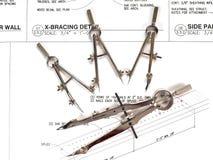 Les outils et les plans de l'architecte Photographie stock