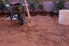 Les outils pour planter une haie : pelle et brouette Photinia rouge photographie stock libre de droits