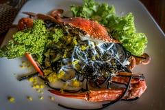 Les pâtes d'encre de calmar avec un crabe entier ont servi dans un plat photos libres de droits