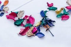 Les pétales colorés secs de feuilles ont dispersé sur un fond blanc sous forme d'angle de triangle Photo libre de droits
