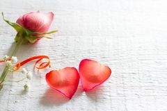 Les pétales de coeur de couples se sont levés sur le concept blanc de valentines d'amour de fond Images stock