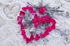 Les pétales de rose sur le sable font un coeur Photo libre de droits