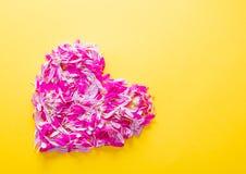 Les pétales roses et pourpres de fleur au coeur forment Images libres de droits