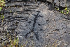 Les pétroglyphes en lave basculent à l'uloa de ` d'unité centrale le long de la chaîne de la route de cratères, en parc national  photographie stock libre de droits
