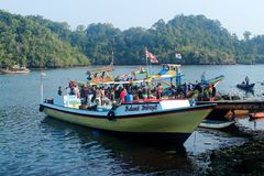 Les pêcheurs éditoriaux abaisse des loquets de poissons image libre de droits