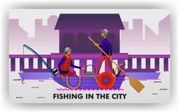 Les pêcheurs pêchent au bord du port, des canoës de transport et des attirails de pêche traditionnels r illustration de vecteur