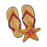 Les paires de bascules électroniques et les étoiles de mer, symboles de plage vacation Photographie stock