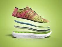Les paires de chaussures roses de sport par les couches 3d rendent sur le fond de couleur Photographie stock