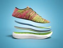 Les paires de chaussures roses de sport par les couches 3d rendent sur le fond de couleur Images libres de droits