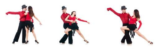 Les paires de danseurs d'isolement sur le blanc Photo libre de droits