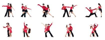 Les paires de danseurs d'isolement sur le blanc Photos libres de droits