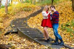Les paires romantiques se réunissent en parc se tenant sur des escaliers Image stock