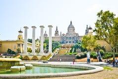 Les Palaos nationales de Montjuic en septembre 2012 à Barcelone, Spai Photo stock