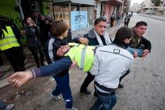 Les Palestiniens protestent le métier israélien dans Hebron photos libres de droits