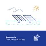 Les panneaux solaires rayent l'icône, logo vert de concept d'énergie Image stock