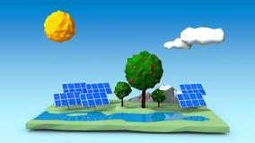 Les panneaux solaires sur une place verte ont formé l'île avec des arbres, des montagnes et une rivière Image libre de droits