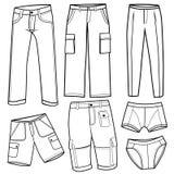 Les pantalons des hommes, circuit illustration de vecteur