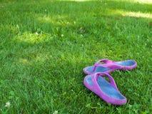 Les pantoufles d'été sont sur l'herbe Photos stock