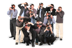 Les paparazzi de photographes doublent douze groupes photographie stock libre de droits